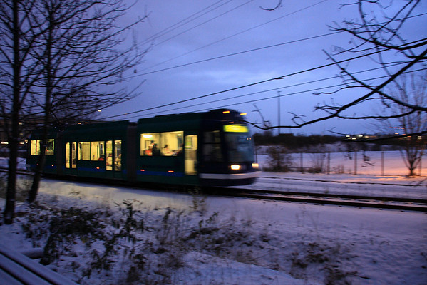 Streetcar heading to South Waterfront past where the new light rail &amp; OHSU Building is going up.