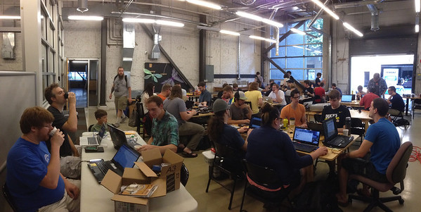 Panoramic View of Nodebots Day PDX.