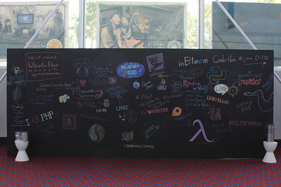 The Chalk Art Wall o' Companies & Messages (Click for full size)
