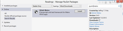 Getting QUnit-Metro via Nuget