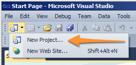 Click on the command button new project option