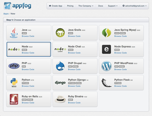 AppFog: Choose an Application