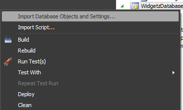 Import Database Objects and Settings...