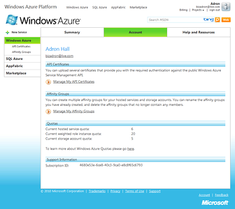 Windows Azure Project Account Properties