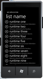 Windows Phone 7 Application List Screen